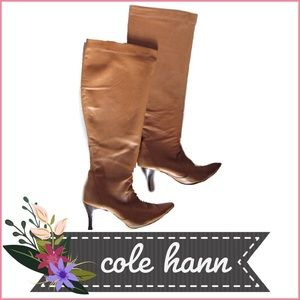 Cole Haan Shoes - Tall Natural Leather Stretch Pointy Toe Boots